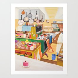 A Cat in the Kitchen Art Print
