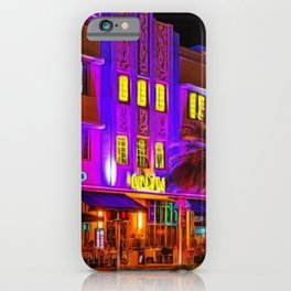 Marlin Hotel, South Beach Miami Florida Landscape Painting by Jeanpaul Ferro iPhone Case