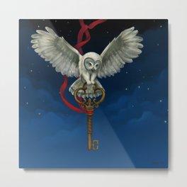 Owl & Key Metal Print