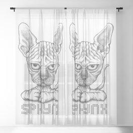 sphynx cat hand-drawn Sheer Curtain