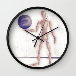 Man With A Globe Wall Clock
