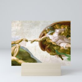 The Creation of Adam Painting by Michelangelo Sistine Chapel Mini Art Print