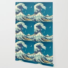 Great Wave Off Kanagawa and Starry Sky Wallpaper