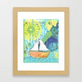 Sailboat Painting, Child's Room Decor, Sailing Art, Lake Art, Blue, Green, Yellow, Orange, Nautical Framed Art Print
