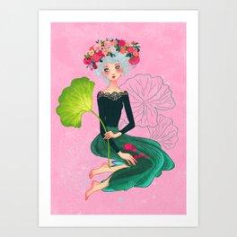 dame de Lotus Art Print