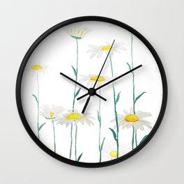 white daisy watercolor horizontal Wall Clock