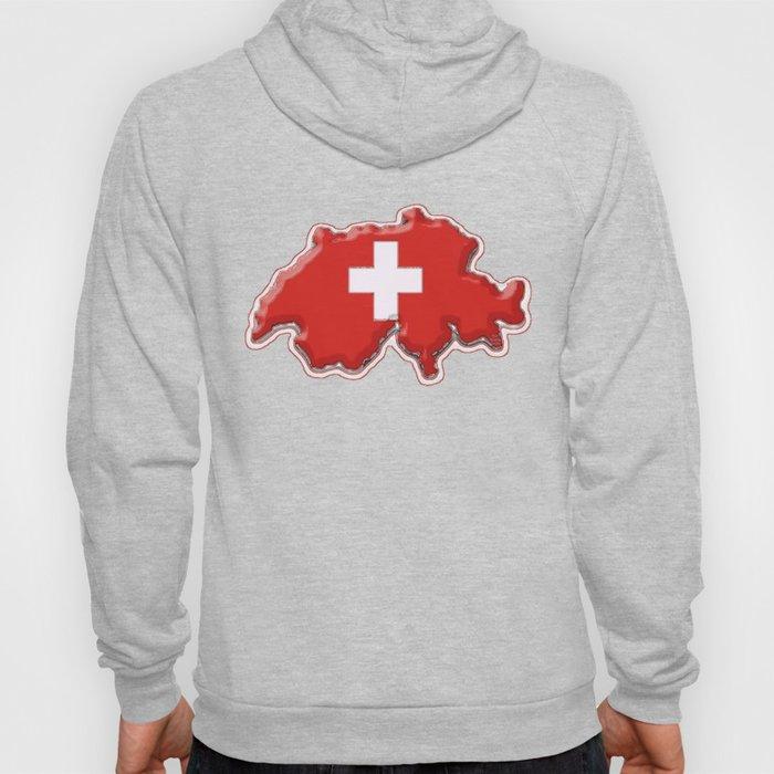 Switzerland Map with Swiss Flag Hoody