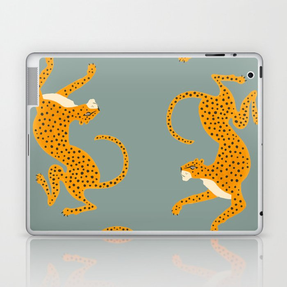 Leopard Race - blue Laptop & iPad Skin