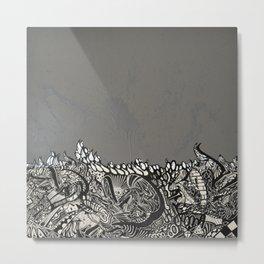BASHA Meets Silver Grey Metal Print
