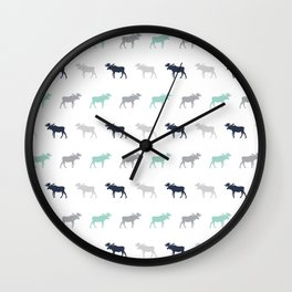 Moose pattern minimal nursery basic grey and white camping cabin chalet decor Wall Clock