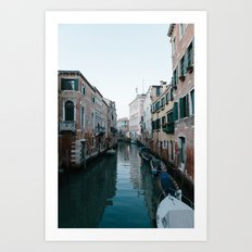 Empty boats in Venice Art Print
