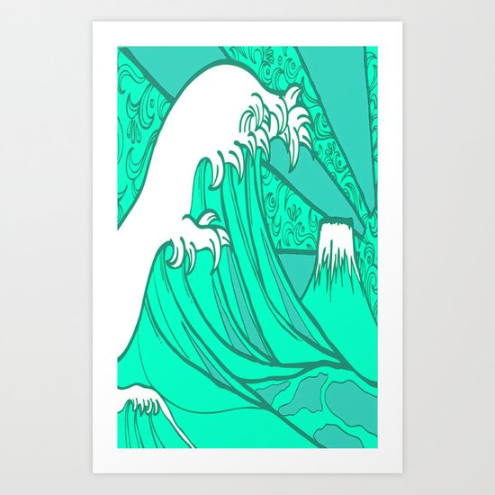 FRESH WAVE AND MOUNTAIN Art Print