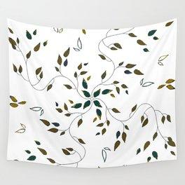 Mosaico foglie oro blu verde petrolio Wall Tapestry