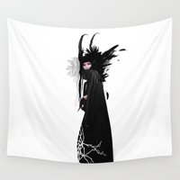 headdress Wall Tapestries featuring Girl with headdress by PLASTIK FACTORY