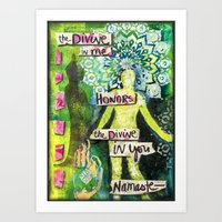 namaste Art Prints featuring Namaste by Jessica Beth Sporn