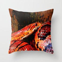 Grunge Coiled Corn Snake Throw Pillow