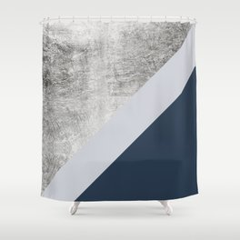 Modern minimalist navy blue grey and silver foil geometric color block Shower Curtain