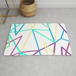 Abstraction. Neon colorful triangles. Rug