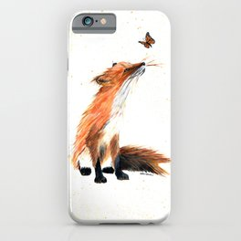Monarch Fox - animal watercolor painting iPhone Case