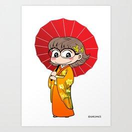 Eva in Kimono Art Print