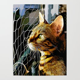 bengal cat yearns for freedom vector art Poster