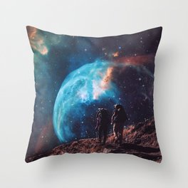 Hiking the universe Throw Pillow