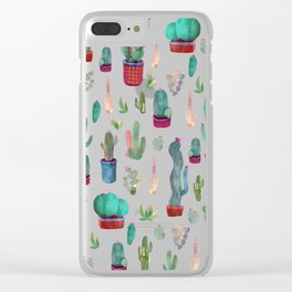 cactus everywhere Clear iPhone Case