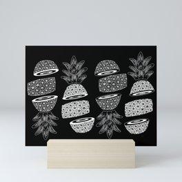 Pineapples (Dark/Sliced) Mini Art Print