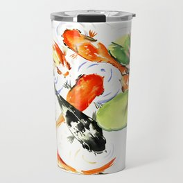 Koi Fish Pond, Feng Shui 9 koi fish art Travel Mug