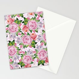 Watercolor pink lavender colorful hand painted roses flowers Stationery Cards