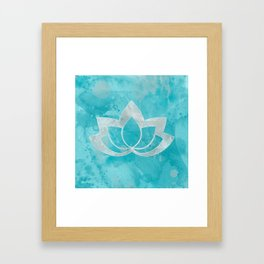 Lotus Flower on Aqua Framed Art Print