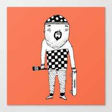 Skater with wine. Canvas Print
