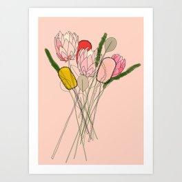 Banksia Party Art Print