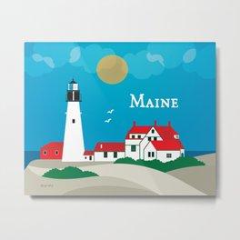 Maine - Skyline Illustration by Loose Petals Metal Print