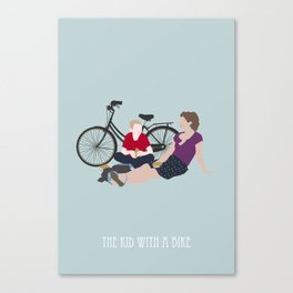 the kid  with a bike Canvas Print
