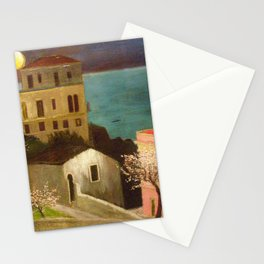 Full Moon over Taormina, Sicily, Italy - Ionian Sea landscape painting by Csontváry Kosztka Tivadar Stationery Cards