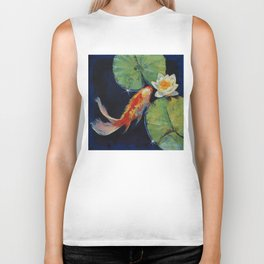 Koi and White Lily Biker Tank