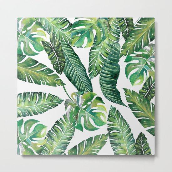 Jungle Leaves, Banana, Monstera #society6 Metal Print