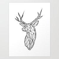 Black Line Faceted Stag Trophy Head Art Print