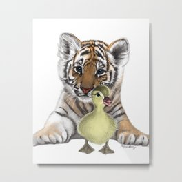 Tiger Cub and Duckling Metal Print