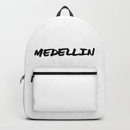 'Medellin' Colombia Hand Letter Type Word Black & White Backpack