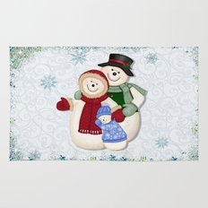 Snowman and Family Glittered Rug