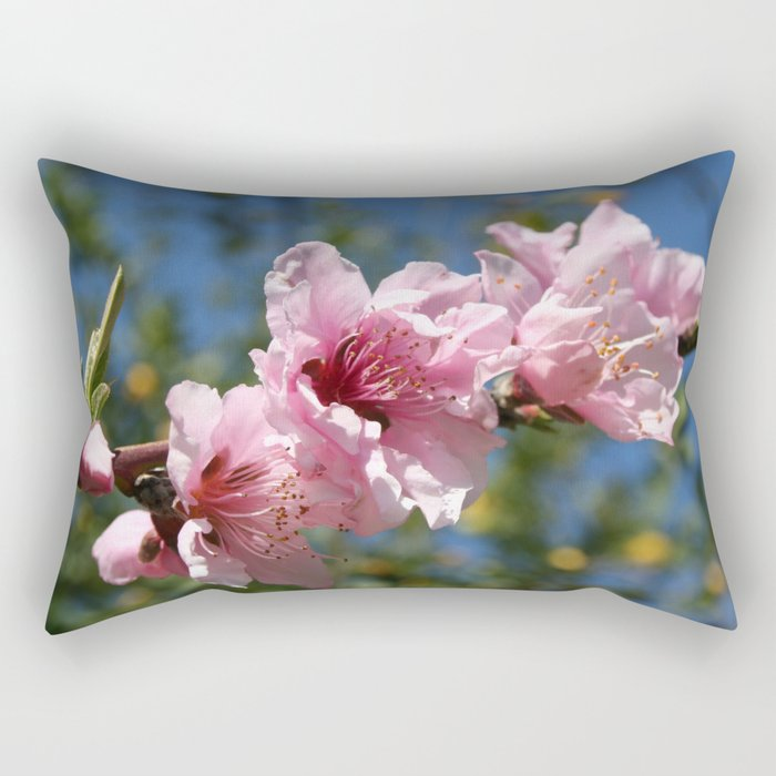 Close Up Peach Tree Blossom Against Blue Sky Rectangular Pillow