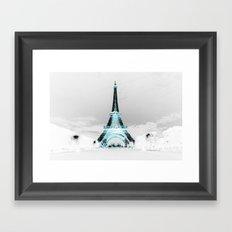 Paris Black & White + Blue Framed Art Print