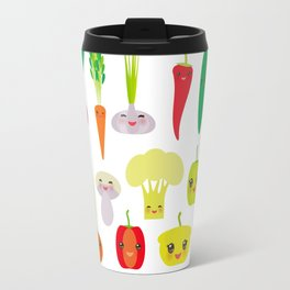 Kawaii vegetables peppers, pumpkin beets carrots, eggplant, red hot peppers, cauliflower, broccoli Travel Mug