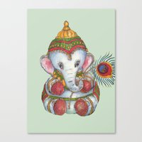 ganesh Canvas Prints featuring Ganesh by coconuttowers
