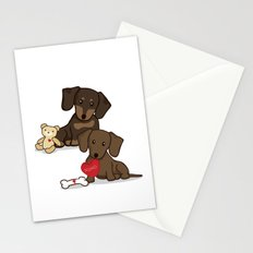 Valentine's Day Love Daschund Illustration Stationery Cards