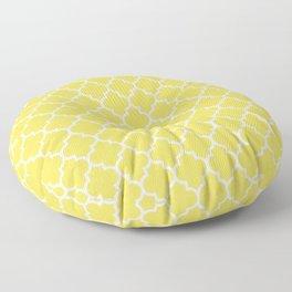 White Moroccan Quatrefoil On Mustard Yellow Floor Pillow