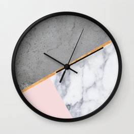 Marble Blush Gold gray Geometric Wall Clock