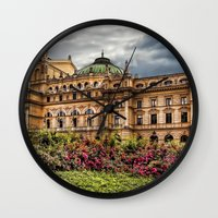theatre Wall Clocks featuring Slowacki Theatre in Cracow by jbjart
